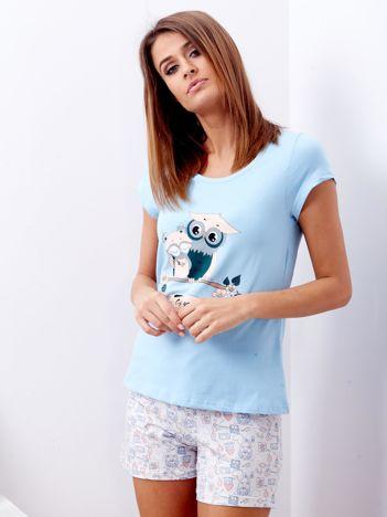 Niebieska piżama damska w sowy