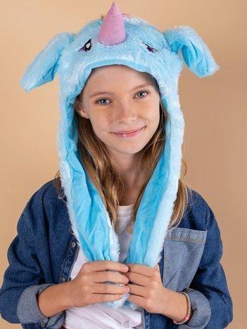 Niebieska pluszowa czapka