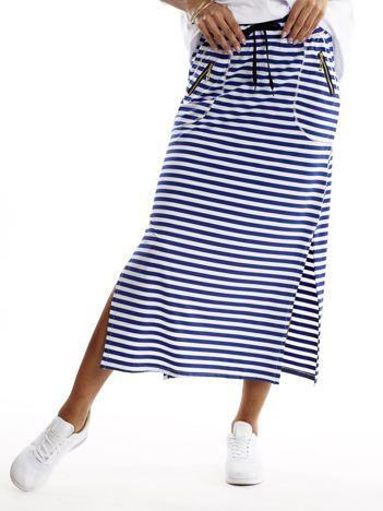 Niebieska spódnica w paski z suwakami