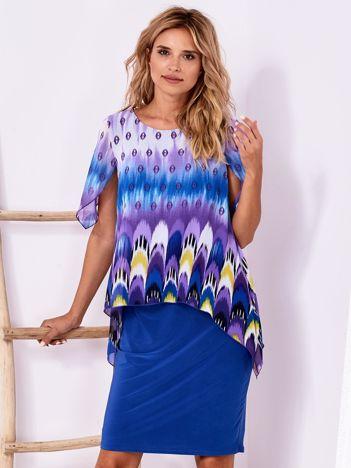 Niebieska sukienka w kolorowe wzory PLUS SIZE