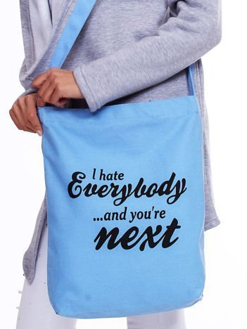 Niebieska torba materiałowa I HATE EVERYBODY z napisem