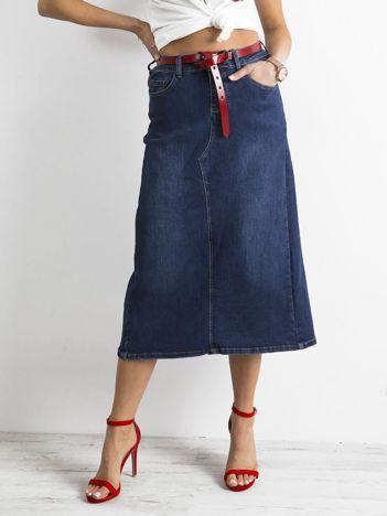 Niebieska trapezowa spódnica jeansowa