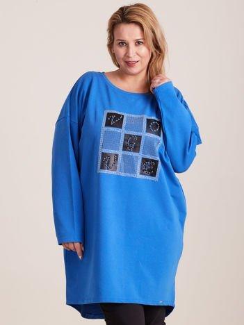Niebieska tunika z aplikacją PLUS SIZE