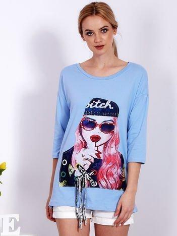 Niebieska tunika z naszywką dziewczyny