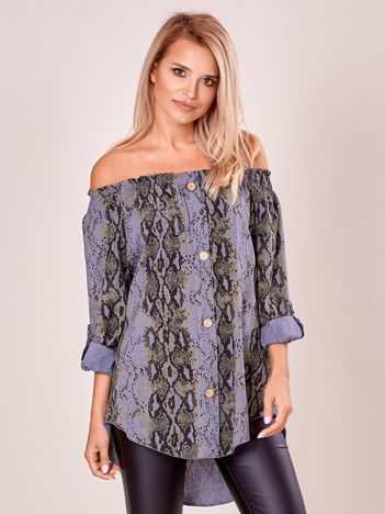 Niebieska wzorzysta bluzka hiszpanka