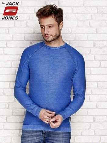 Niebieski dekatyzowany sweter męski