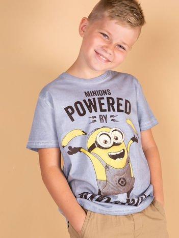 Niebieski dekatyzowany t-shirt chłopięcy MINIONKI