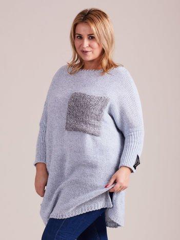 Niebieski długi damski sweter MAGPIE