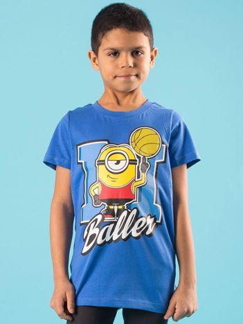 Niebieski dziecięcy t-shirt z nadrukiem MINIONKI