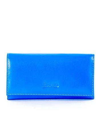 Niebieski gładki portfel damski