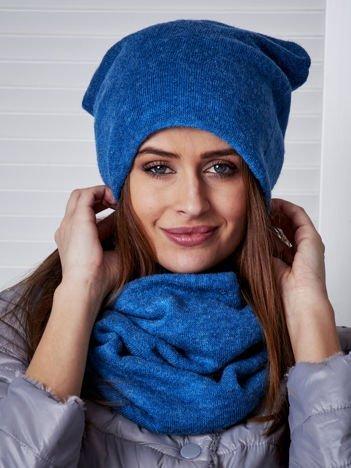 Niebieski komplet damski czapka i komin