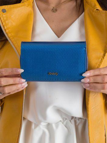 Niebieski lakierowany portfel w drobny wzór
