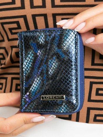 Niebieski mały skórzany portfel damski