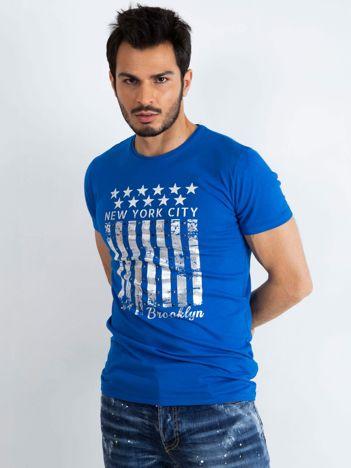 Niebieski męski t-shirt Designed