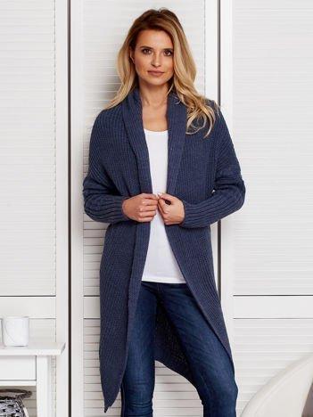 Niebieski otwarty sweter damski