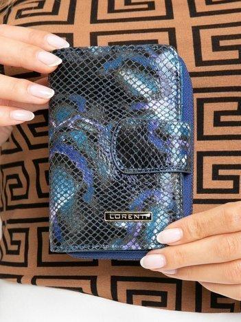 Niebieski portfel skórzany we wzory