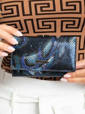 Niebieski poziomy portfel damski we wzory