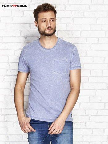 Niebieski t-shirt męski acid wash FUNK N SOUL