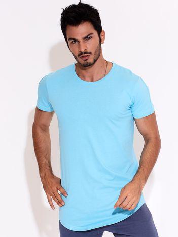 Niebieski t-shirt męski basic