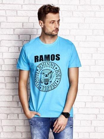 Niebieski t-shirt męski z napisem RAMOS i nadrukiem