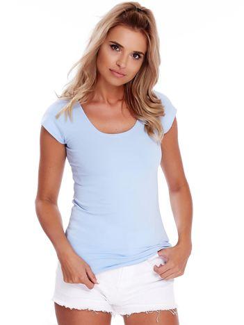 Niebieski t-shirt z okrągłym dekoltem