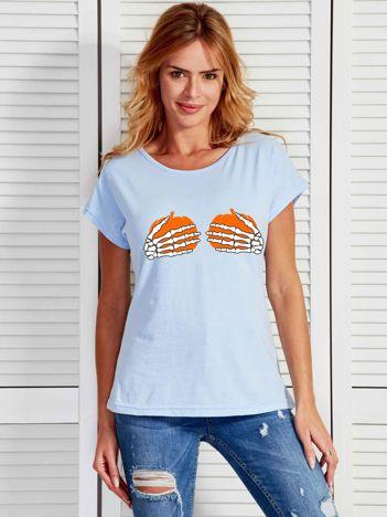 Niebieski t-shirt z zabawnym nadrukiem na Halloween