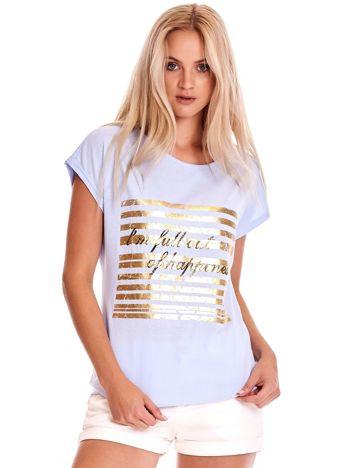 Niebieski t-shirt ze złotym printem