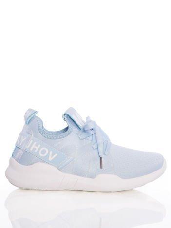 Niebieskie ażurowe buty sportowe Rue Paris z przezroczystymi szlufkami i białymi napisami