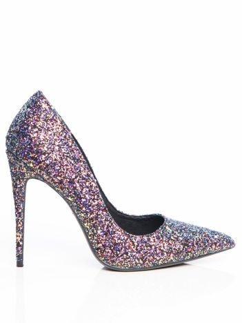 Niebieskie brokatowe szpilki glitter z różową poświatą, w szpic