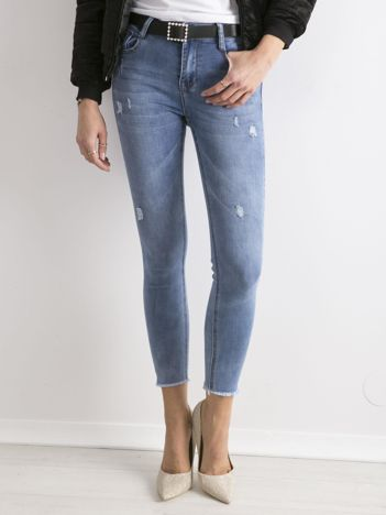Niebieskie damskie jeansy z wysokim stanem