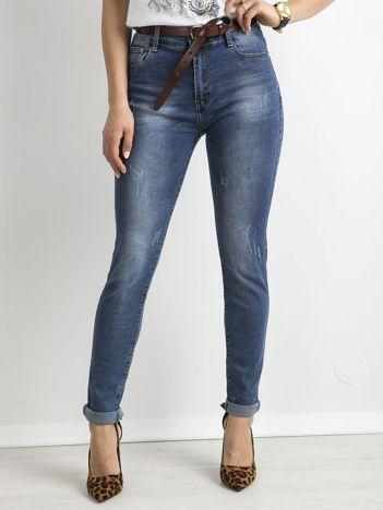 Niebieskie damskie spodnie jeansowe skinny