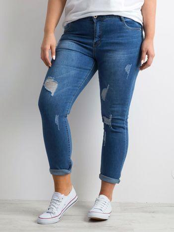 Niebieskie dżinsowe rurki z dziurami PLUS SIZE