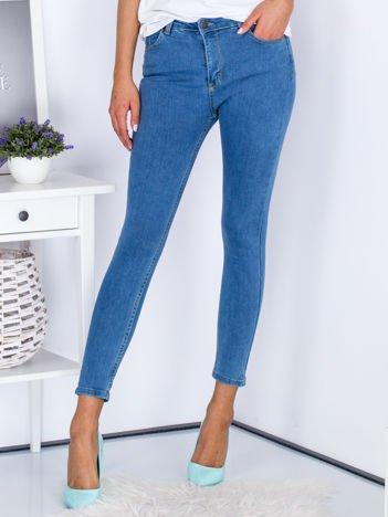 Niebieskie jeansy skinny z wysokim stanem