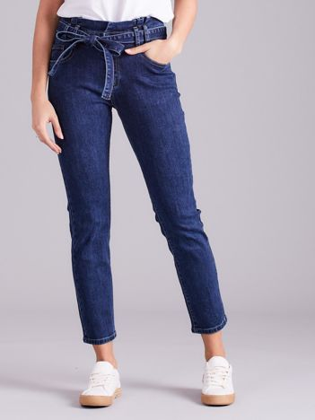 Niebieskie jeansy z wiązaniem