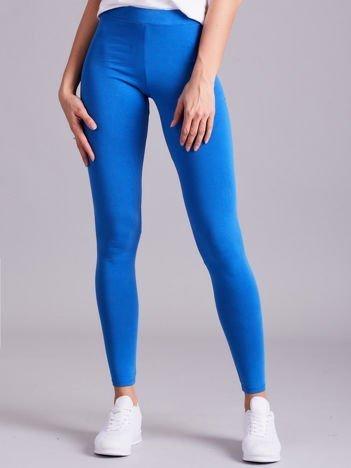 Niebieskie legginsy damskie gładkie