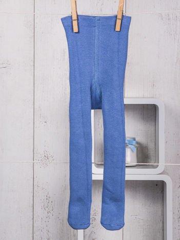 Niebieskie ocieplane bawełniane rajstopy niemowlęce dla chłopca lub dziewczynki