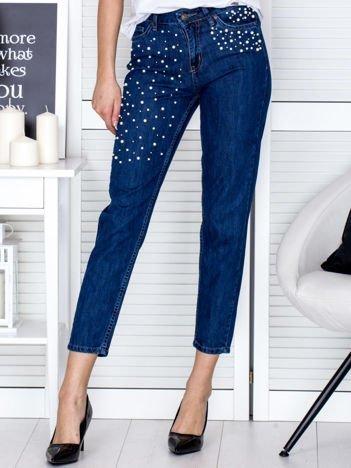 Niebieskie proste spodnie z perełkami