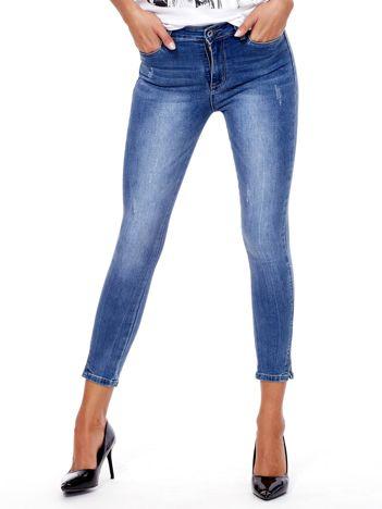 Niebieskie spodnie jeansowe skinny fit 7/8