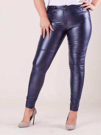 Niebieskie woskowane spodnie damskie PLUS SIZE