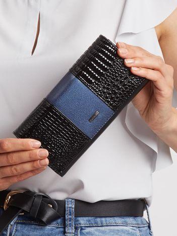 Niebiesko-czarny portfel skórzany