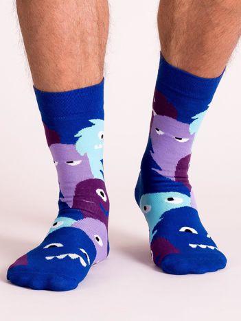 Niebiesko-fioletowe skarpety męskie we wzory