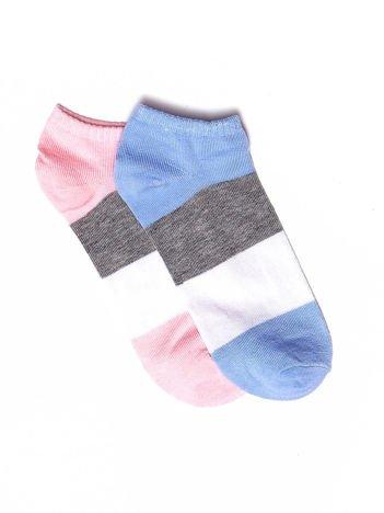 Niebiesko-różowe skarpetki damskie stopki w paski 2-pak