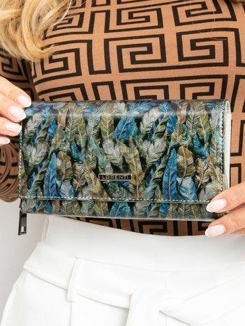 Niebiesko-zielony duży portfel skórzany we wzory