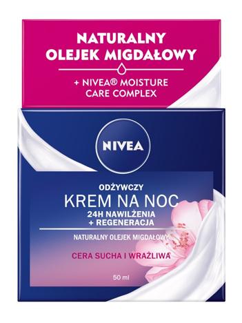 Nivea 24H Nawilżenia + Regeneracja Krem na noc Odżywczy - cera sucha i wrażliwa 50 ml