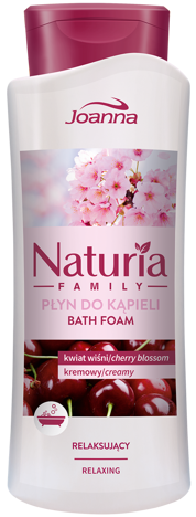Nowość! JOANNA NATURIA FAMILY Płyn do kąpieli Kwiat Wiśni relaksujący 750ml