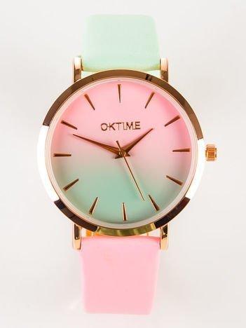 OMBRE  Zegarek damski różowo-miętowy