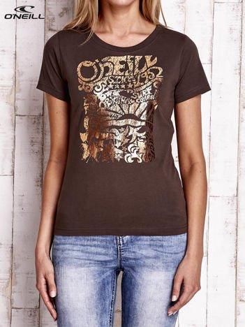 O'NEILL Brązowy t-shirt z błyszczącym nadrukiem