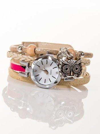 OWL beżowo-złoty zegarek damski  z cyrkonią i sową