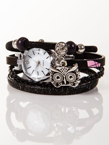 OWL czarny zegarek damski  z cyrkonią i sową