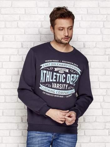 Ocieplana bluza męska ze sportowymi napisami grafitowa